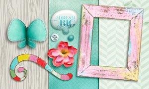炫彩字母和花朵背景等图片素材