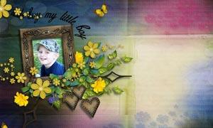 木纹照片相框和花朵绿藤图片素材
