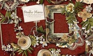 齿轮锁具和花朵小鸟等图片素材