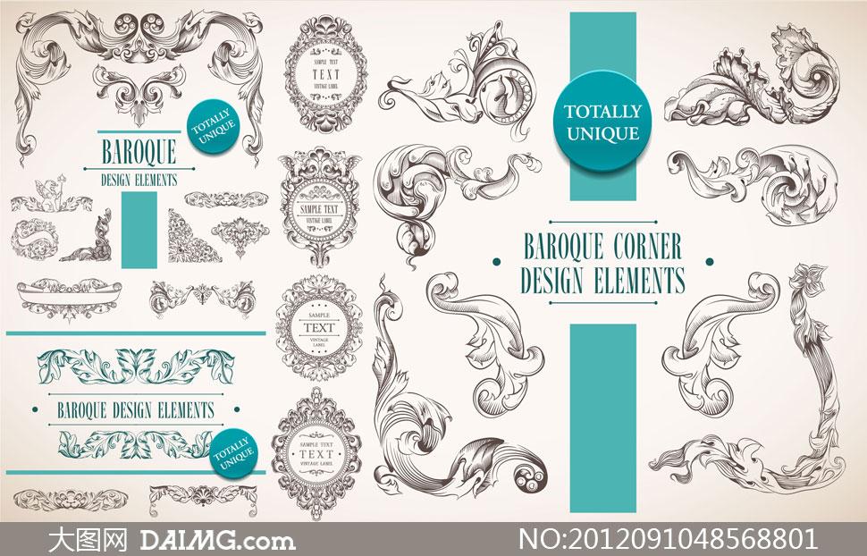 金色花纹边框矢量素材 大图网设计素材下载  西方欧式花纹花边元素