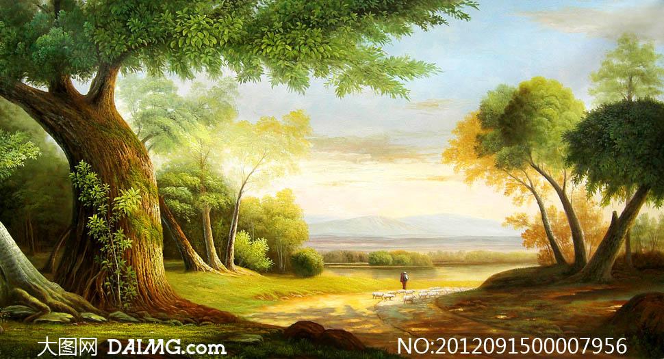 山乡美景油画设计图片素材
