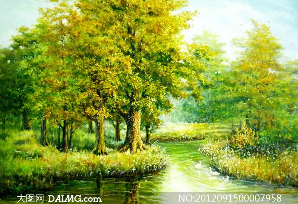 夏日森林美景油画设计图片素材