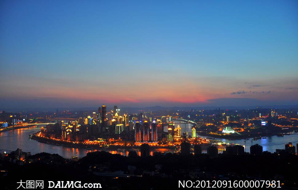 渝中半岛夜景全景摄影图片素材