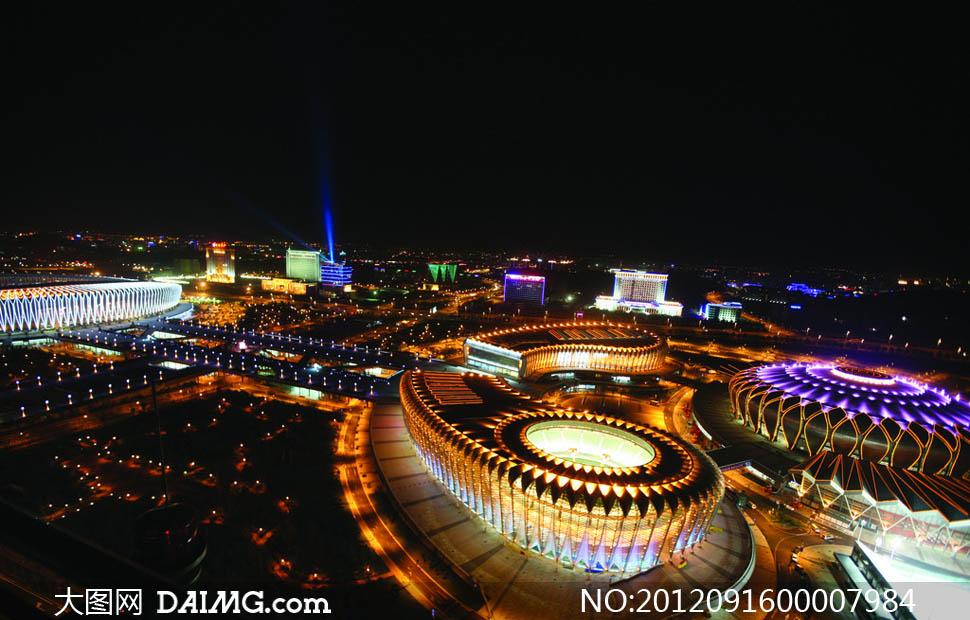 济南奥体中心夜景摄影图片