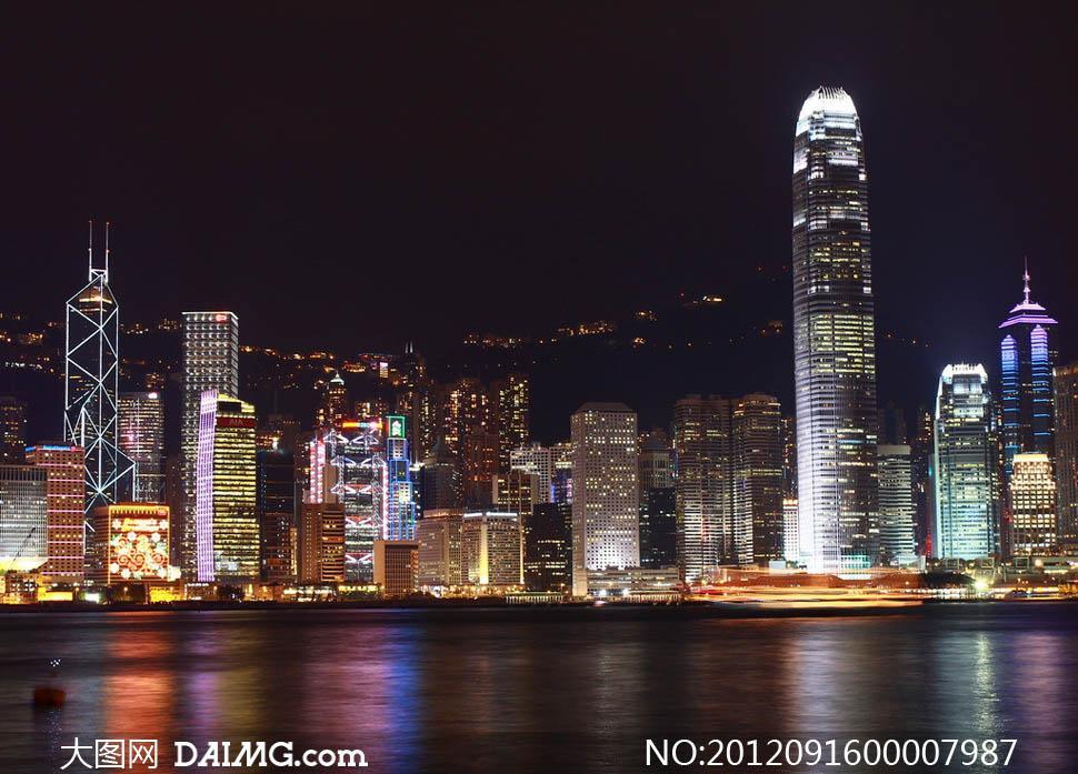 香港夜景城市灯光灯光明媚维多利亚港高楼大厦建筑物海边海边都市大
