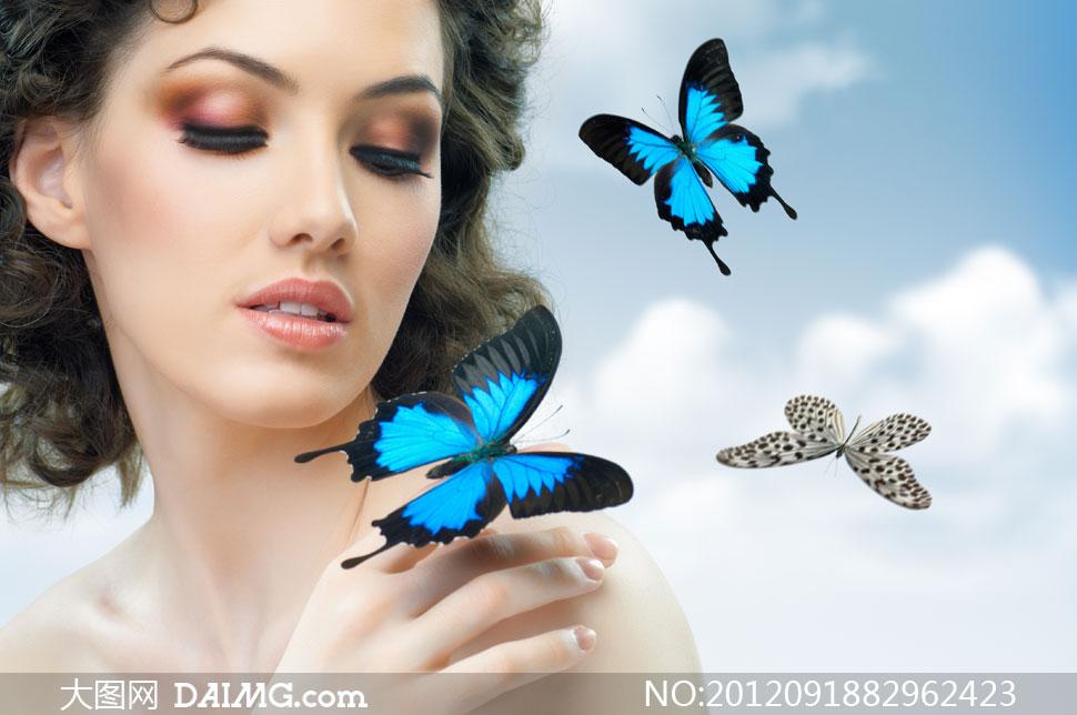 肩上蝶与浓妆美女人物摄影高清图片 大图网设