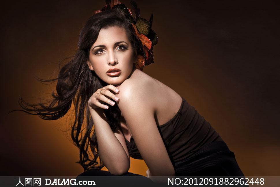 黑色长发美女模特写真摄影高清图片 大图网设