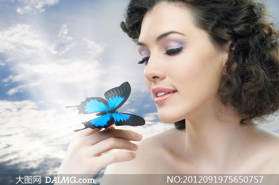 蝴蝶与卷发美女人物摄影高清图片 大图网设计