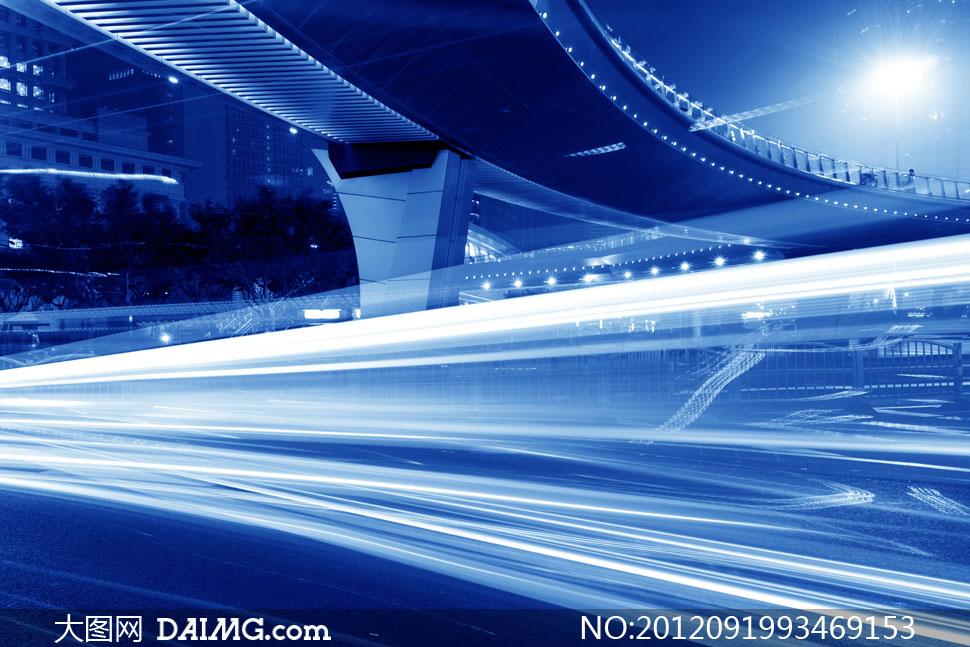 风景景观城市公路道路马路街道夜景街景灯光动感光线线条曲线桥底蓝色