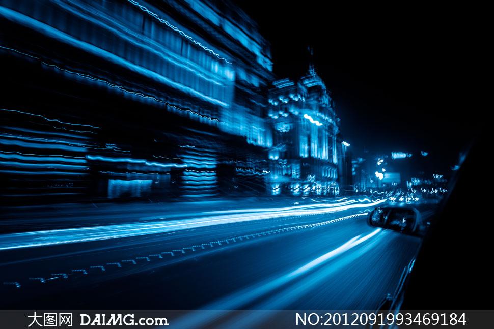 汽车与城市建筑物创意设计高清图片