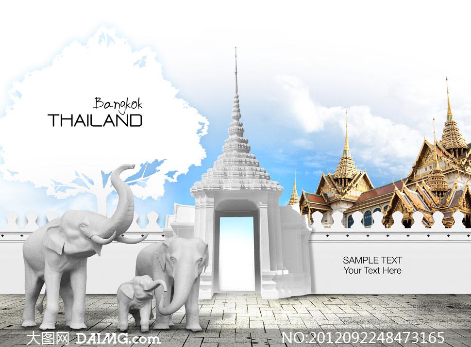 大象雕像与泰国风格建筑物高清图片