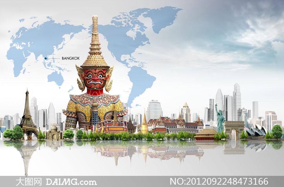 塞纳河畔的埃菲尔铁塔摄影高清图片         大象雕像与泰国风格建筑