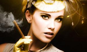 夹着雪茄烟的美女人物摄影高清图片