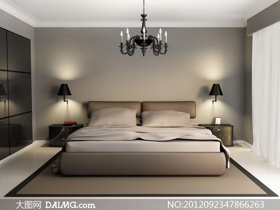 卧室里的大床正视图渲染高清图片