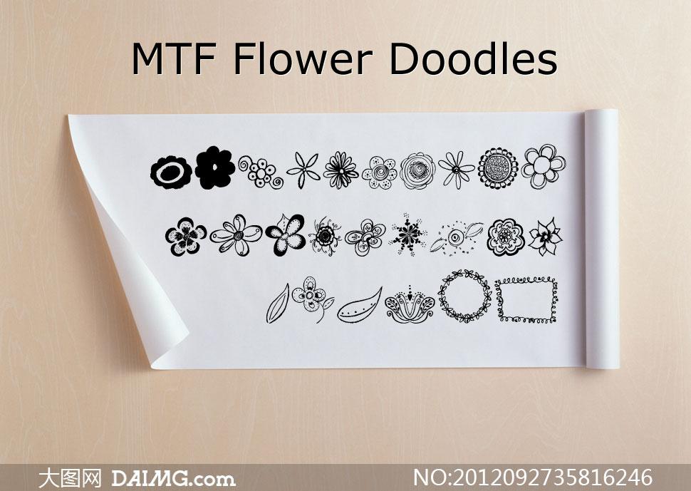 图形字体可爱字体图案字体可爱素材花朵边框圆形叶子