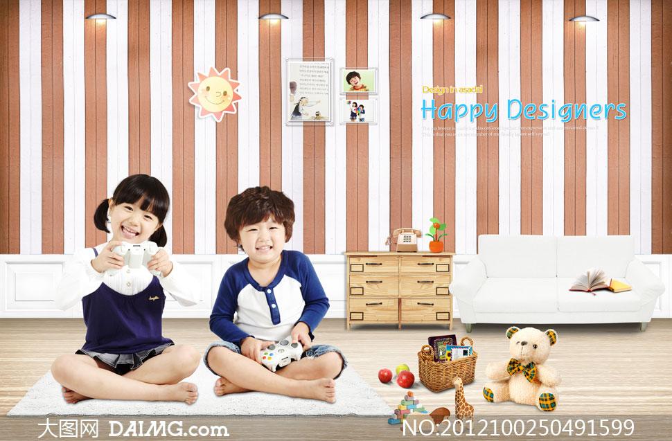 房间里玩游戏的俩小孩psd分层素材