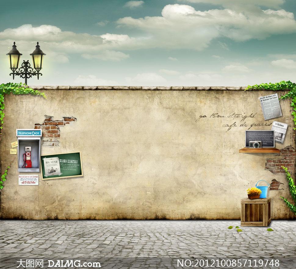 砖墙墙壁墙体院墙木箱盆栽盆景花盆铁桶照相机剪报报纸落叶铺砖地面