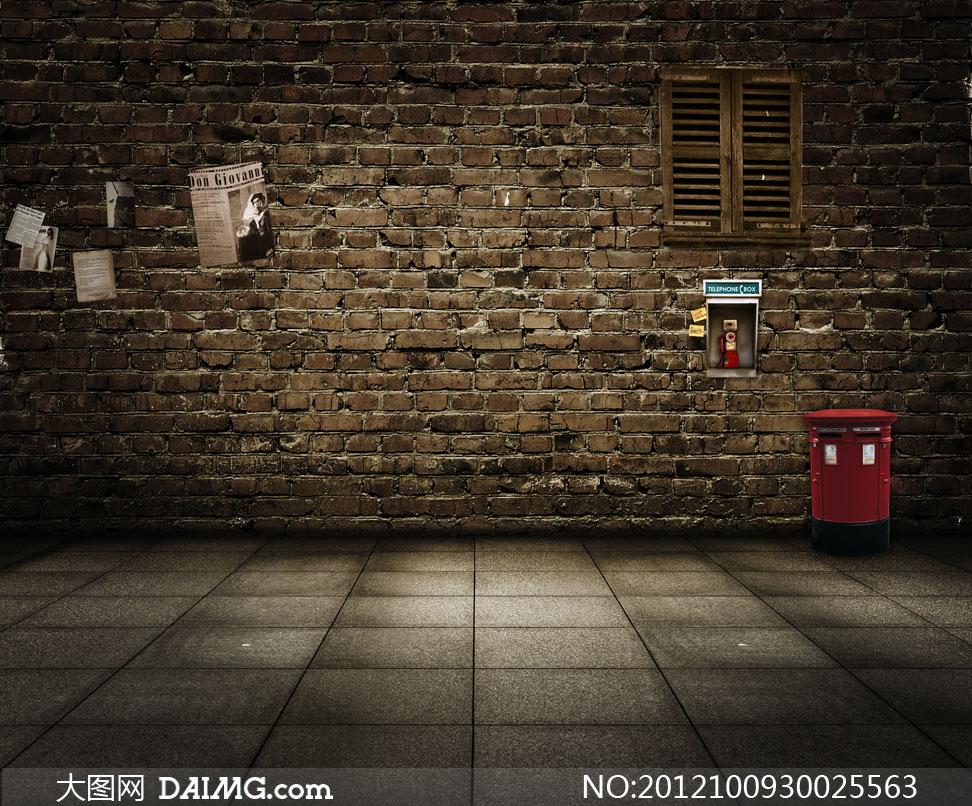 墙壁剪报报纸窗户木窗电话亭垃圾桶铺砖地面室内怀旧