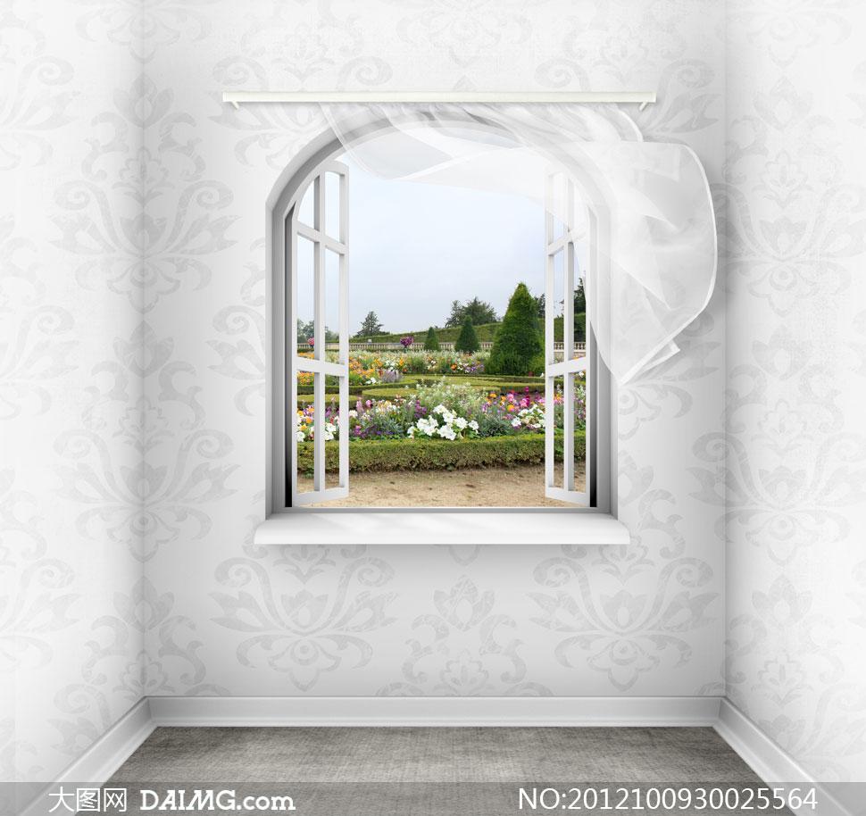 窗户外的花海风光影楼摄影背景图片