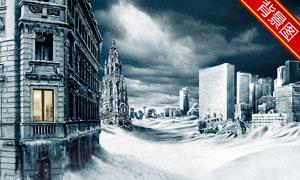 大风雪之后的城市影楼摄影背景图片