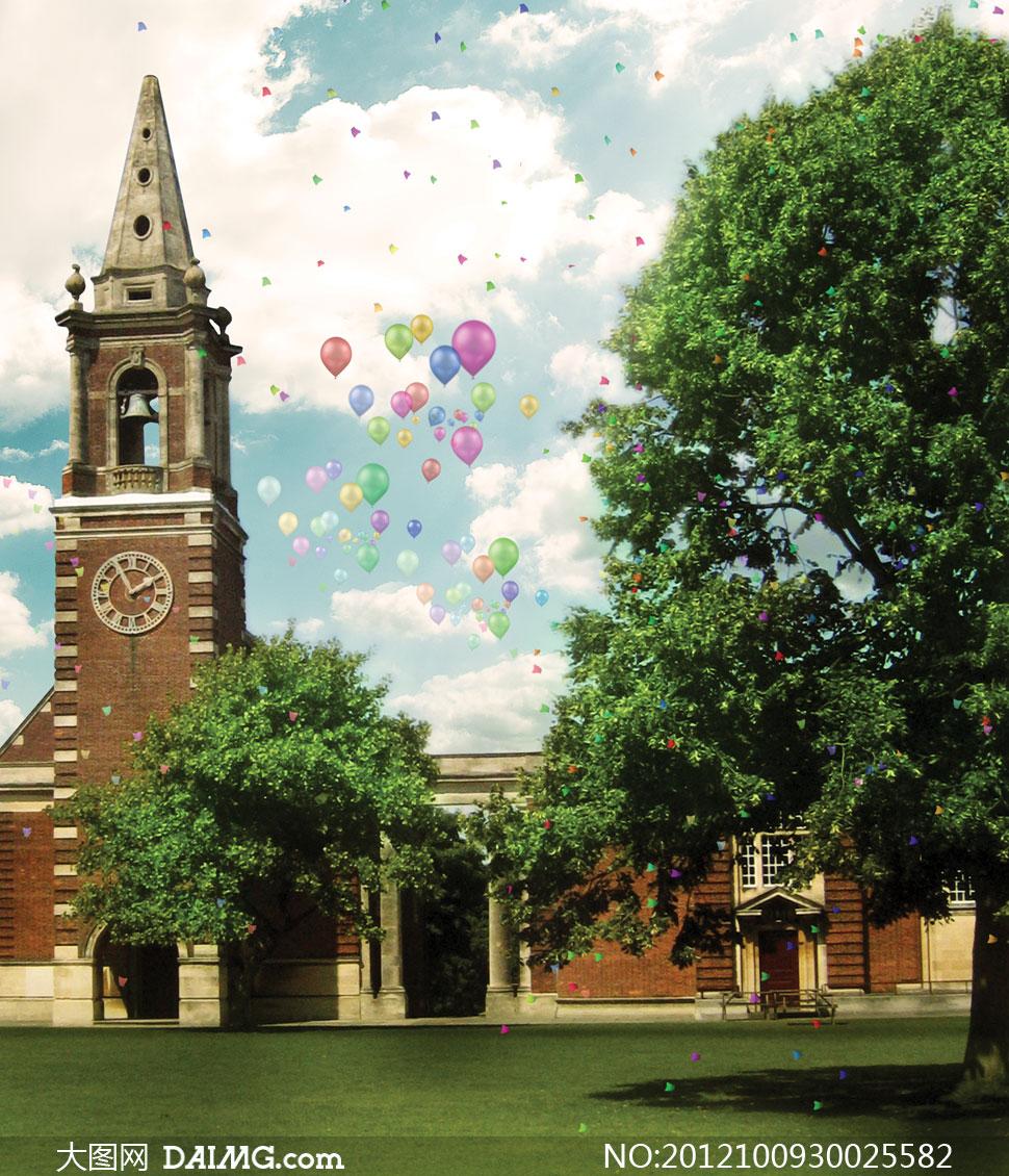 教堂与茂盛的大树影楼摄影背景图片