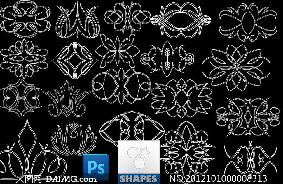 欧式花纹ps形状 - 大图网设计素材下载