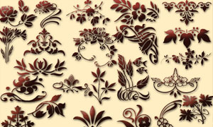 花朵和树藤边框等形状