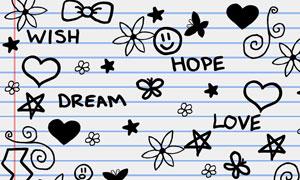 手绘涂鸦花朵心形等笔刷