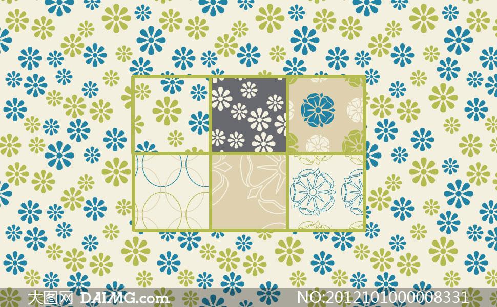 关键词: 清新花朵蓝色橙黄色圆圈环形可爱温馨背景填充图案ps图案ps
