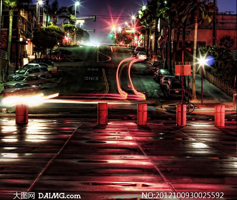 城市街道夜景主題影樓攝影背景圖片