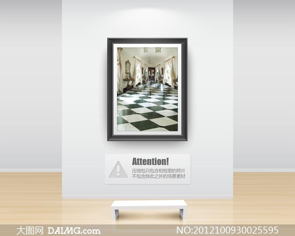 欧式长廊黑白格子格子地面窗帘窗户吊灯镜框边框家