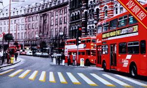 大街上的双层巴士影楼摄影背景图片