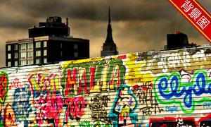 花花绿绿的涂鸦墙影楼摄影背景图片