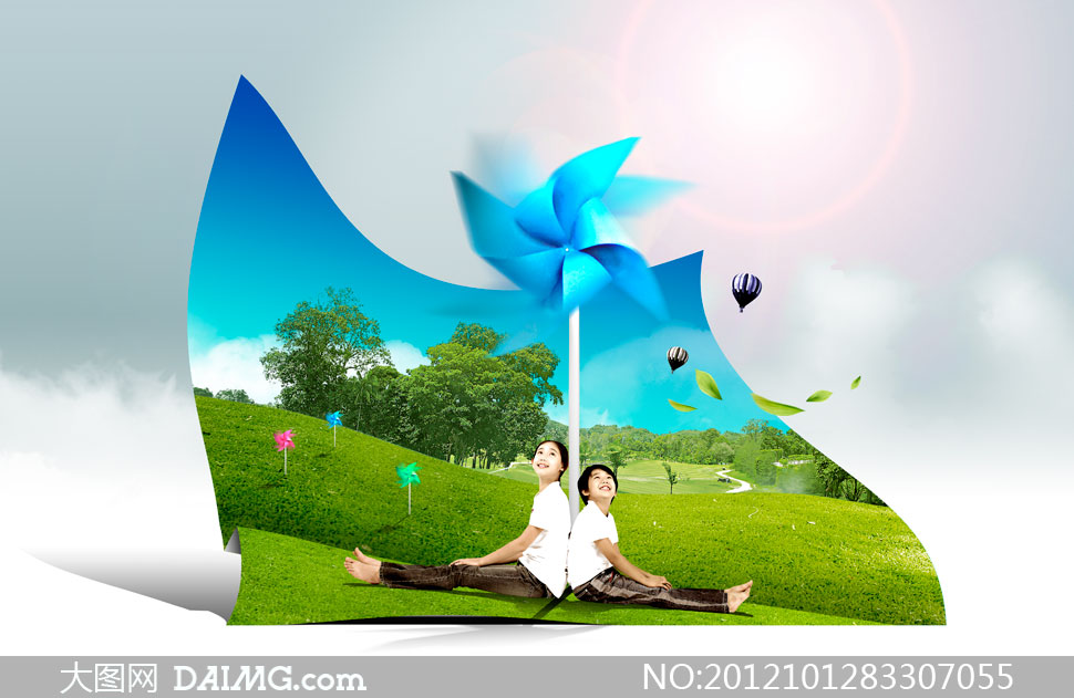 风车光晕热气球落叶叶子绿叶树叶蓝天白云云层云彩多云大树树木树林树