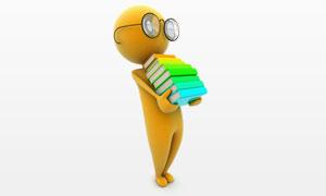 搬运书本的黄色3D小人高清图片
