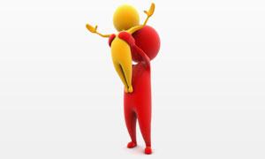 红黄两种颜色的3D小人创意图片