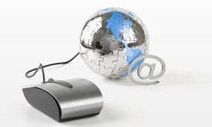 连接拼图地球的鼠标创意设计图片