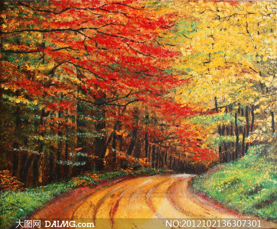 秋意浓浓的树林小路油画高清图片