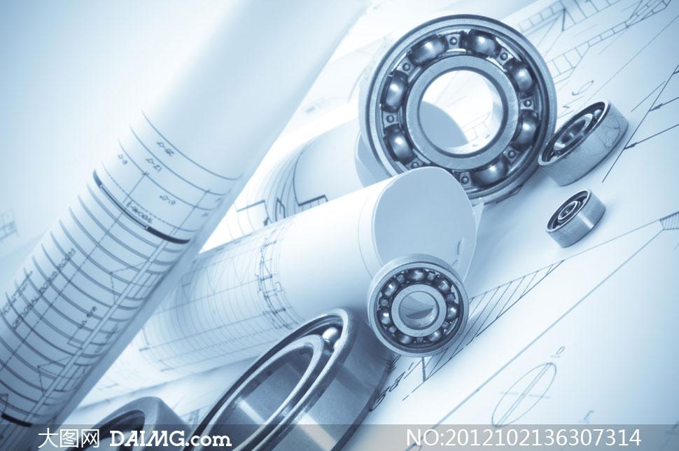 轴承与机械制造业图纸摄影高清图片图片