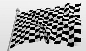 黑白格子赛车旗子特写高清摄影图片