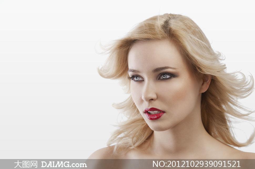 外国红唇美女人物发型摄影高清图片图片