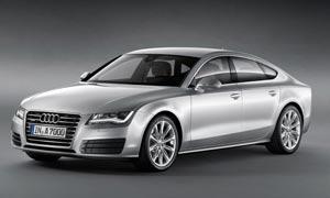 奥迪银色轿车高清摄影图片