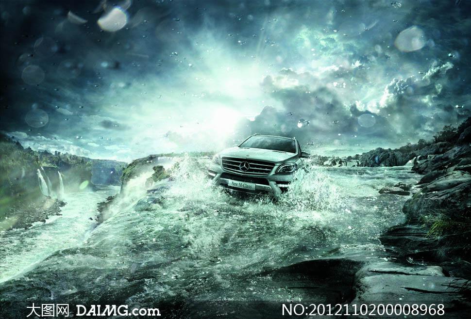 新款奔驰ML水上效果图设计图片