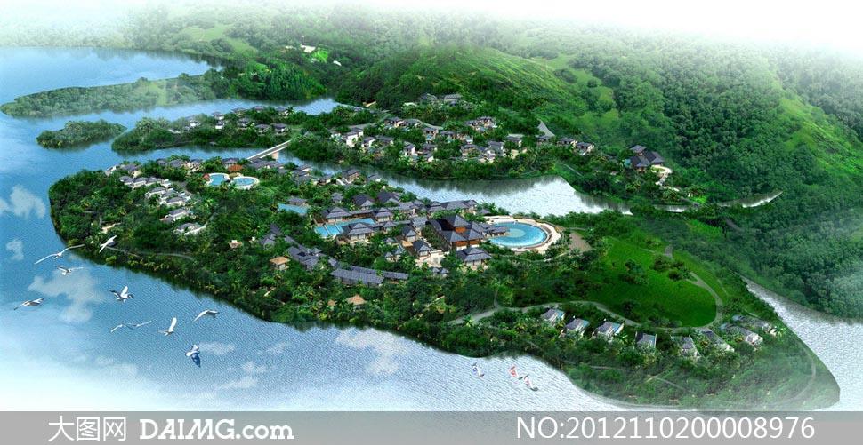旅游酒店鸟瞰图设计图片
