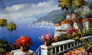 欧式地中海风景油画设计图片