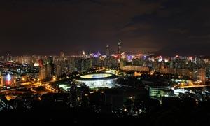 深圳体育中心夜景摄影图片