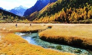 山峦下的西藏秋季摄影图片