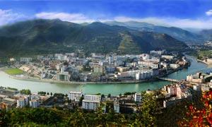 陕西凤县城市全景摄影图片