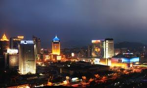 杭州武林广场夜景全景摄影图片