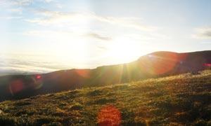 长白山的日出美景摄影图片